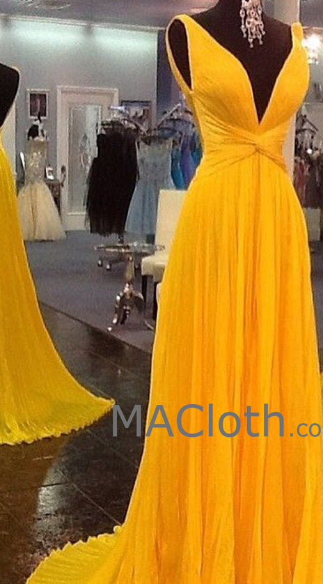 MACloth Straps V Neck A Line Chiffon Yellow Prom Evening Gown Wedding Party Formal Dress