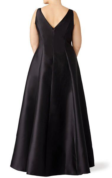 MACloth Straps High Neck Satin Hi-Lo Prom Dress Plus Size Black Evening Gown