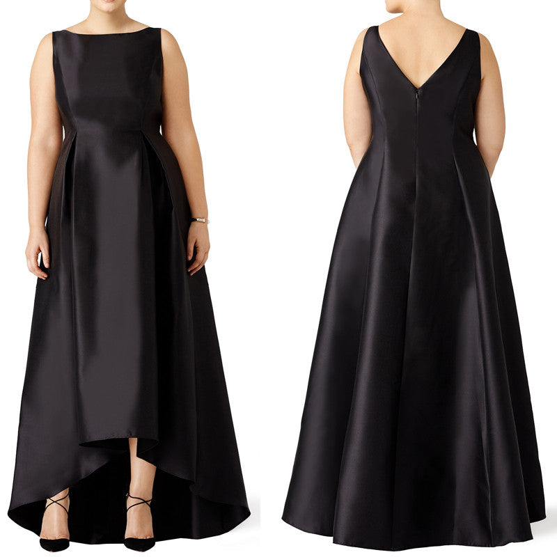 MACloth Straps High Neck Satin Hi-Lo Prom Dress Plus Size Black Evenin