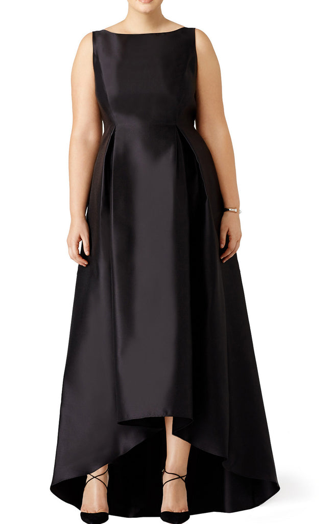 90ec692bff3e MACloth Straps High Neck Satin Hi-Lo Prom Dress Plus Size Black Evenin
