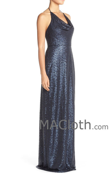 MACloth Women Halter Sequin Long Bridesmaid Dress Wedding Party Evening Gown