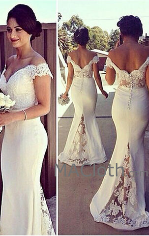 MACloth Mermaid Off the Shoulder Lace Jersey White Prom Dress Evening Gown Wedding party Bridesmaid Dresses