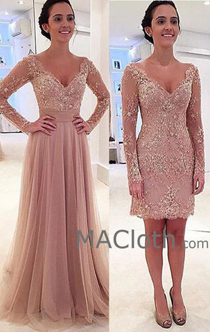 MACloth Two Piece Long Sleeves Lace Pearl Pink Evening Gown Wedding Party Dress