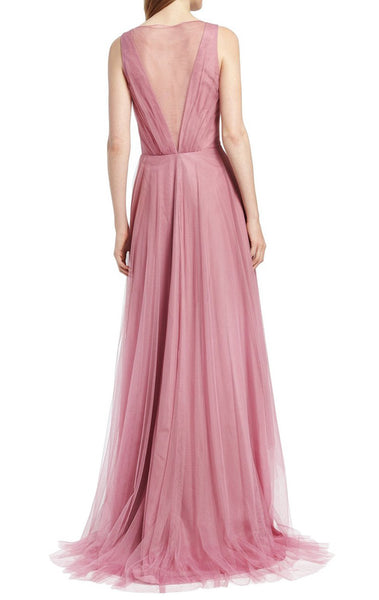 MACloth Straps V Neck Tulle Hi-Lo Bridesmaid Dress Blush Pink Mother of the Brides Dress