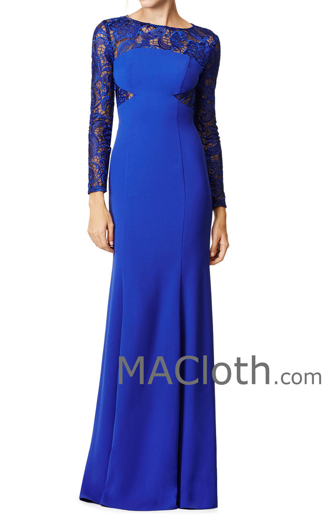 MACloth Women Mermaid Long Sleeves Lace Jersey Royal Blue Evening Gown Formal Dress