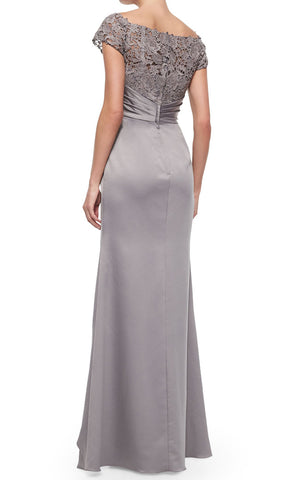 MACloth Women Cap Sleeves Lace Chiffon Long Evening Gown Silver Mother of the Brides Dress