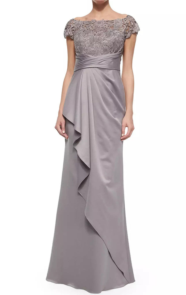 MACloth Women Cap Sleeves Lace Chiffon Long Evening Gown Silver Mother