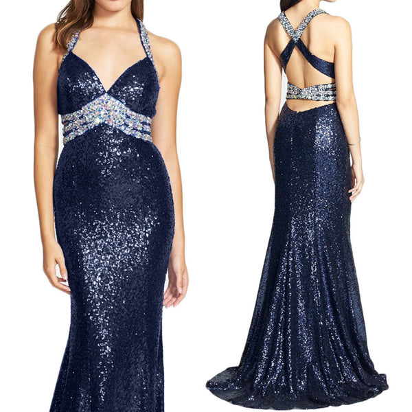 MACloth Mermaid Straps V Neck Sequin Prom Dress Dark Navy Formal Gown