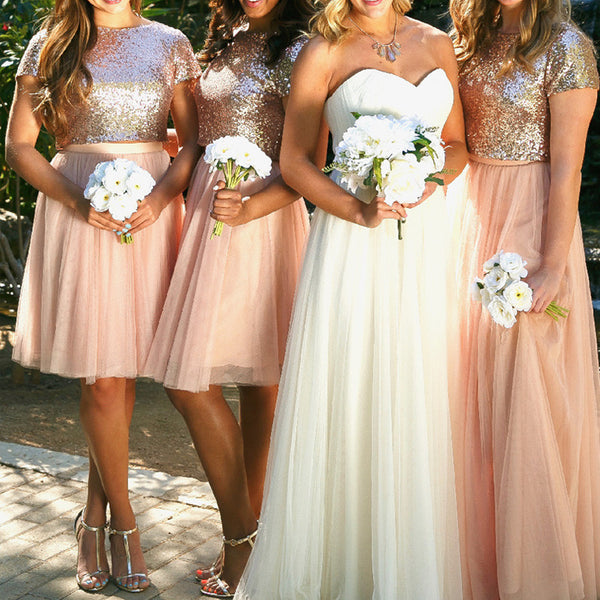 MACloth Two Piece Cap Sleeves Bridesmaid Dress Rose Gold Formal Gown