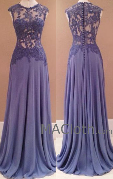 MACloth Straps O Neck Long Chiffon Lace Evening Prom Formal Gown Wedding Party Dress