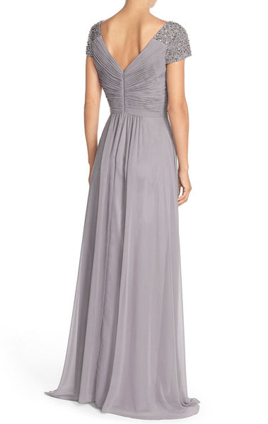 MACloth Straps V Neck Cap Sleeves Hi-Lo Chiffon Evening Gown Silver Mother of the Brides Dress