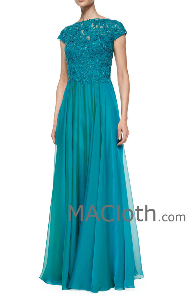 MACloth Women Cap Sleeves Lace Chiffon Long Mother of the Brides Dress Evening Gown