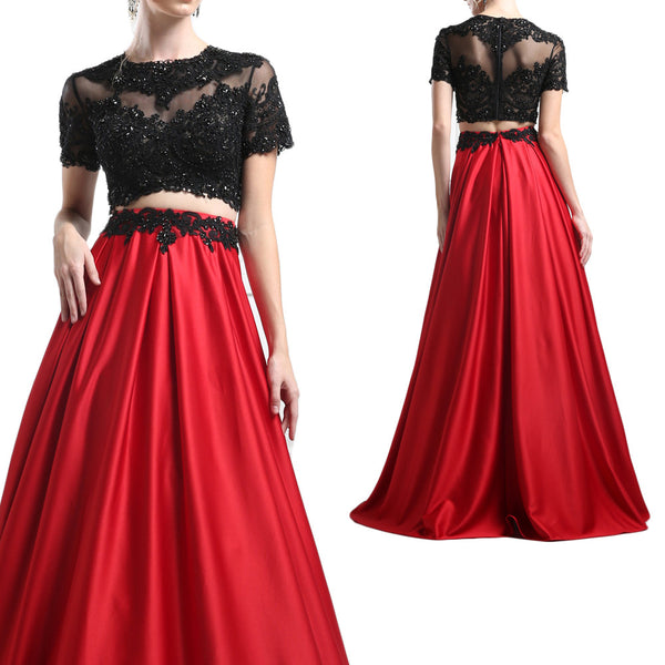 MACloth Short Sleeves Black Lace Red Prom Dress Two Piece Ball Gown
