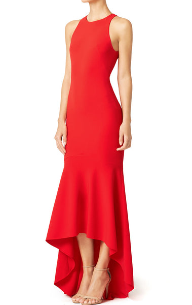 MACloth Mermaid Straps Jersey Hi-Lo Prom Dress Red Formal Gown