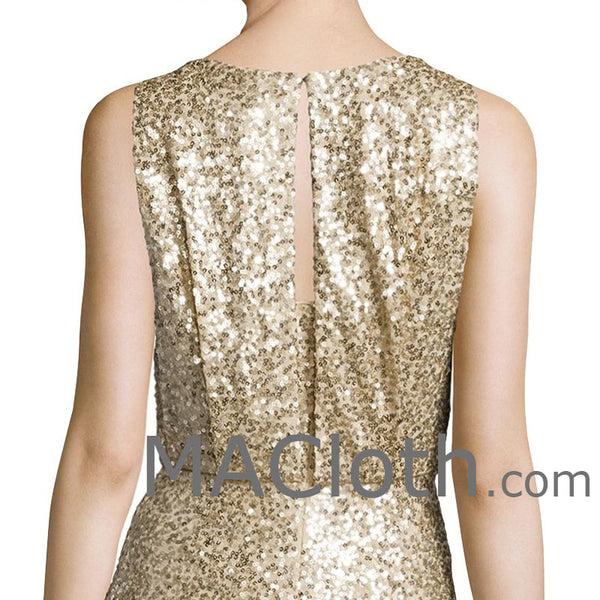 MACloth Women Mermaid Tank Sequin Gold Long Bridesmaid Dress Evening Formal Gown