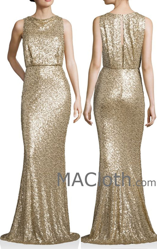 MACloth Women Mermaid Tank Sequin Gold Long Bridesmaid Dress Evening F