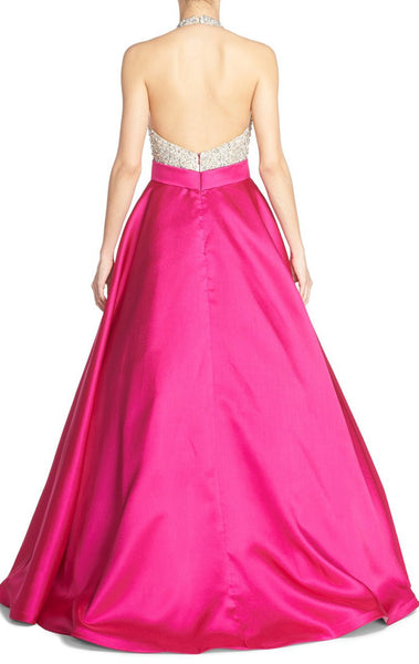 MACloth Halter Beading Satin Long Prom Dress Fuchsia Ball Gown