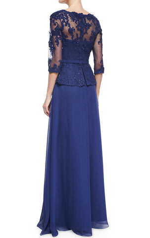 MACloth Women Long Sleeves Lace Chiffon Evening Gown Royal Blue Mother of the Brides Dress