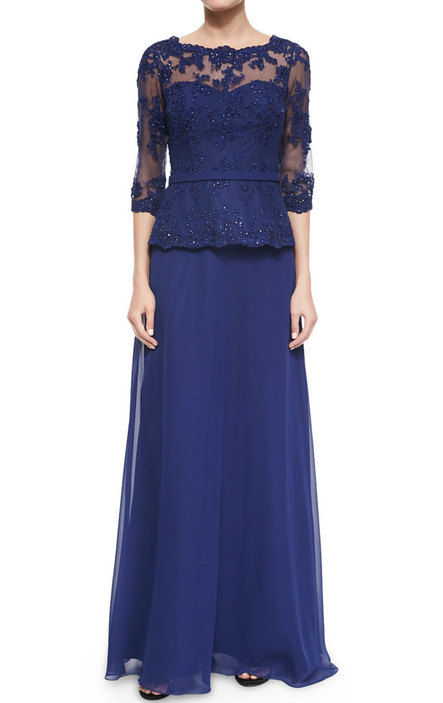 MACloth Women Long Sleeves Lace Chiffon Evening Gown Royal Blue Mother