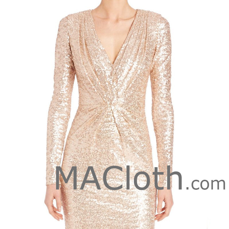 254aa28ee0 ... MACloth Women Long Sleeves V Neck Sequin Evening Gown Rose Gold Mother  of the Brides Dress ...
