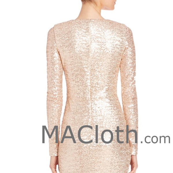 MACloth Women Long Sleeves V Neck Sequin Evening Gown Rose Gold Mother of the Brides Dress