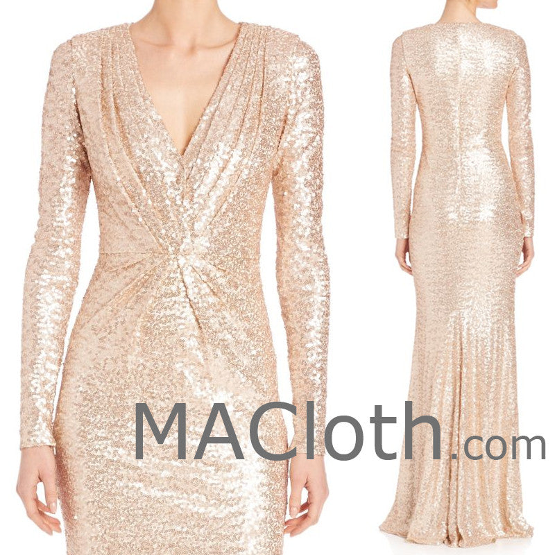 MACloth Women Long Sleeves V Neck Sequin Evening Gown Rose Gold Mother