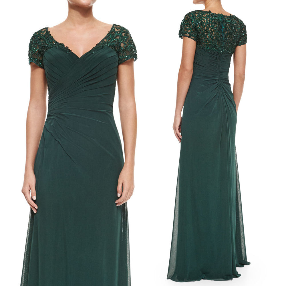 ... MACloth Women Cap Sleeves V Neck Lace Chiffon Long Evening Gown Dark  Green Mother of the ...
