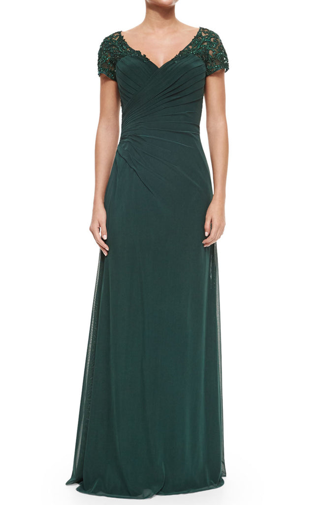 MACloth Women Cap Sleeves V Neck Lace Chiffon Long Evening Gown Dark Green Mother of the Brides Dress