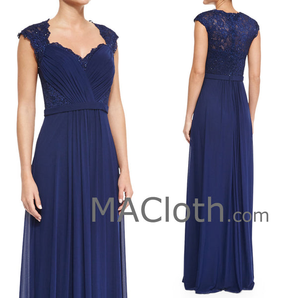 MACloth Women Cap Sleeves Lace Chiffon Long Royal Blue Mother of the Brides Dress Evening Gown