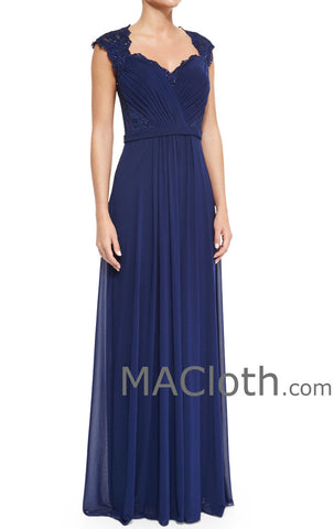 1bbe42caddf MACloth Women Cap Sleeves Lace Chiffon Long Royal Blue Mother of the Brides  Dress Evening Gown ...