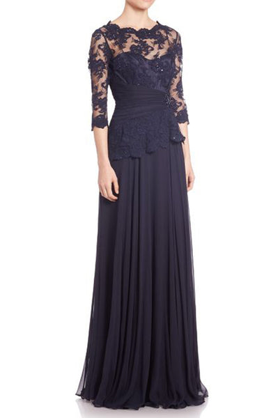 MACloth Half Sleeves Lace Chiffon Evening Gown Dark Navy Mother of the Brides Dress