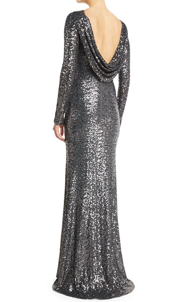 MACloth Mermaid Long Sleeves Sequin Evening Gown Gray Mother of the Brides Dress