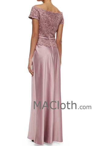 MACloth Women Off the Shoulder Long Lace Chiffon Mother of the Brides Dress Evening Gown