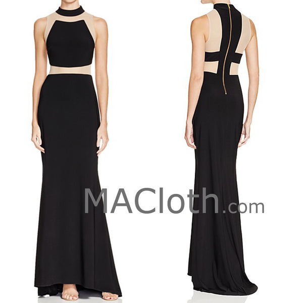 MACloth Mermaid Straps Black Jersey Evening Gown Formal Prom Dress