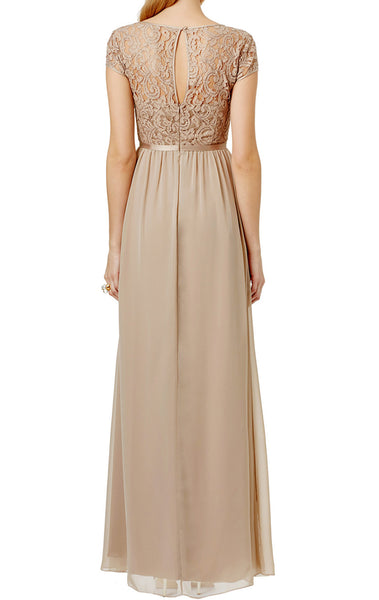 MACloth Cap Sleeves Lace Chiffon Long Evening Gown Champagne Mother of the Brides Dress