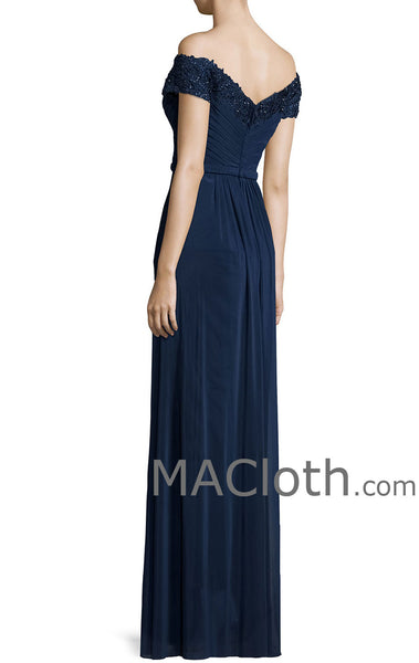MACloth Women Off the Shoulder Lace JerseyDark Navy Mother of the Brides Dress Evening Gown