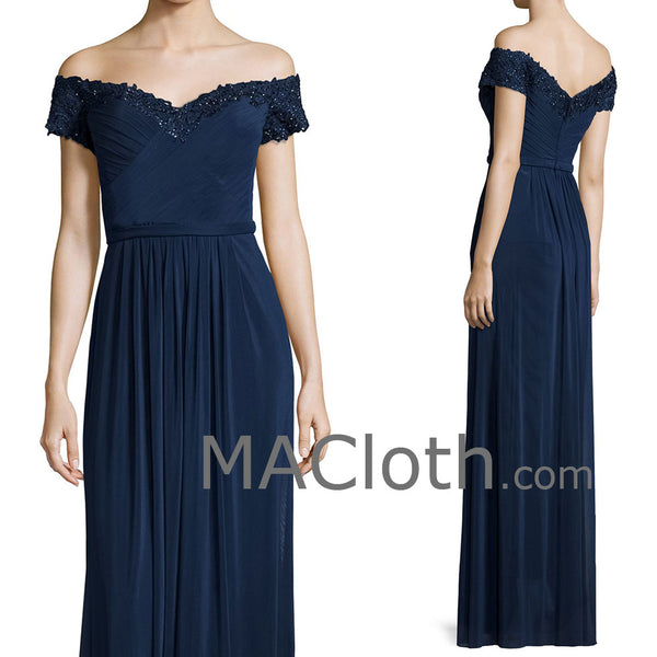 MACloth Women Off the Shoulder Lace Chiffon Dark Navy Mother of the Brides Dress Evening Gown
