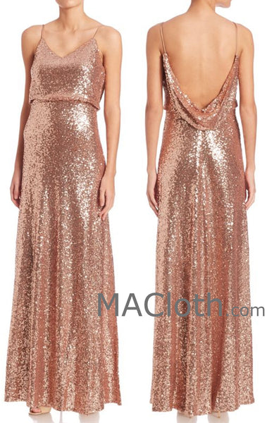 MACloth Women Spaghetti Straps Sequin Rose Gold Long Bridesmaid Dress Evening formal Gown
