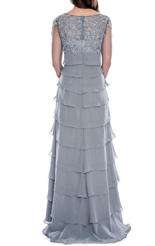 MACloth Half Sleeves Lace Chiffon Long Evening Gown Silver Mother of the Brides Dress