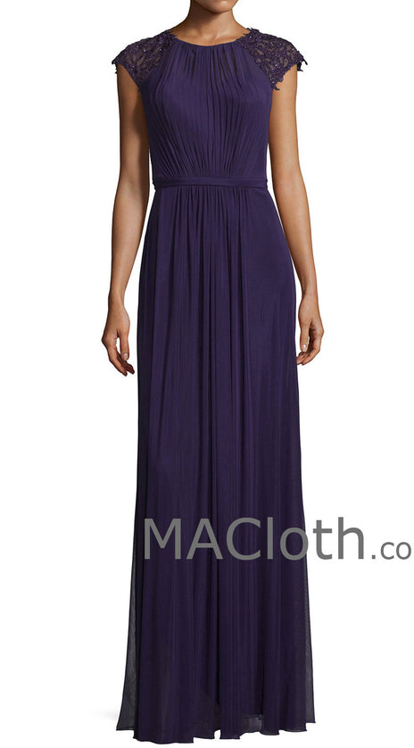 MACloth Women Cap Sleeves Long Purple Lace Chiffon Mother of the Brides Dress Evening Gown