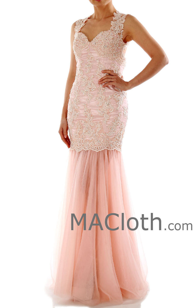 Mermaid Straps Sweetheart Long Lace Pink Prom / Evening Gown 160191