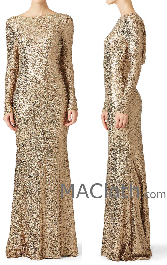 3980fc75a31b ... MACloth Women Mermaid Long Sleeves Sequin Evening Dress Formal Gown  With Cowlback ...