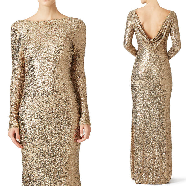 Long Mermaid Macloth Evening Dress Sequin Formal Women With Gown Cowlback Sleeves f6gby7