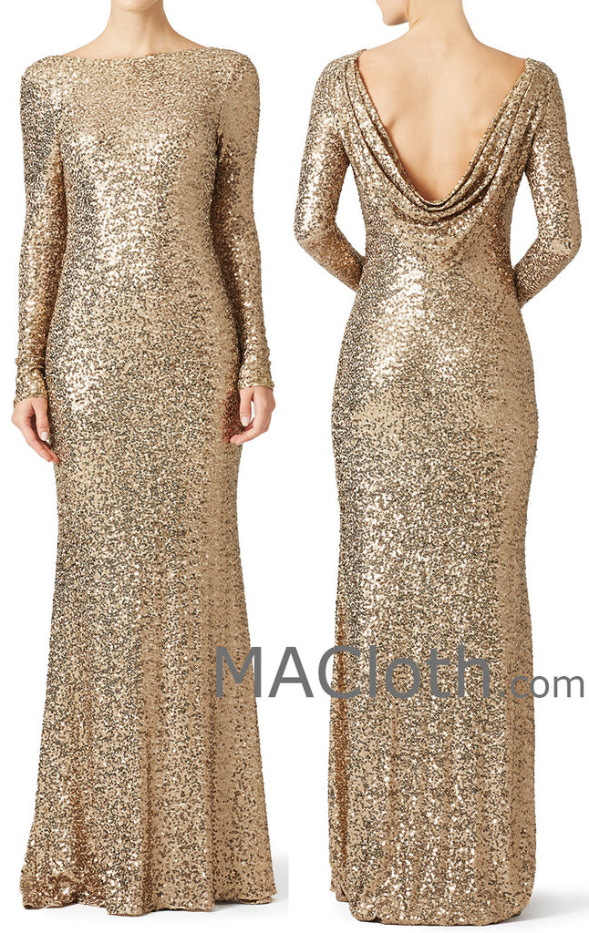 MACloth Women Mermaid Long Sleeves Sequin Evening Dress Formal Gown With Cowlback