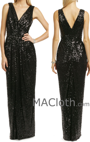 MACloth Women Straps V Neck Sequin Long Black Bridesmaid Dress Formal Evening Gown