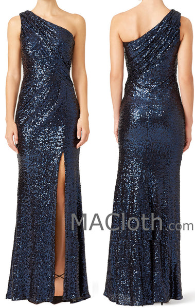 MACloth Women Mermaid One Shoulder Sequin Dark Navy Long Evening Formal Gown with Slit