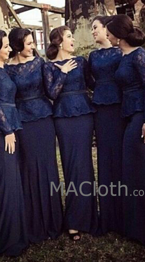 MACloth Mermaid Long Sleeves Lace Jersey Dark Navy Bridesmaid Dress Wedding Party Evening Gown
