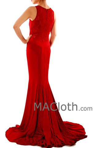 Mermaid Straps O Neck Lace Jersey Burgundy Evening Prom Dress with Court Train 160124