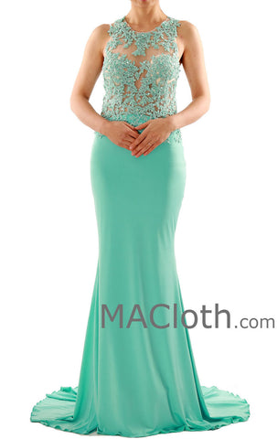 Mermaid Straps O Neck Floor Length Lace Jersey Mint Prom Dress Evening Gown 160107