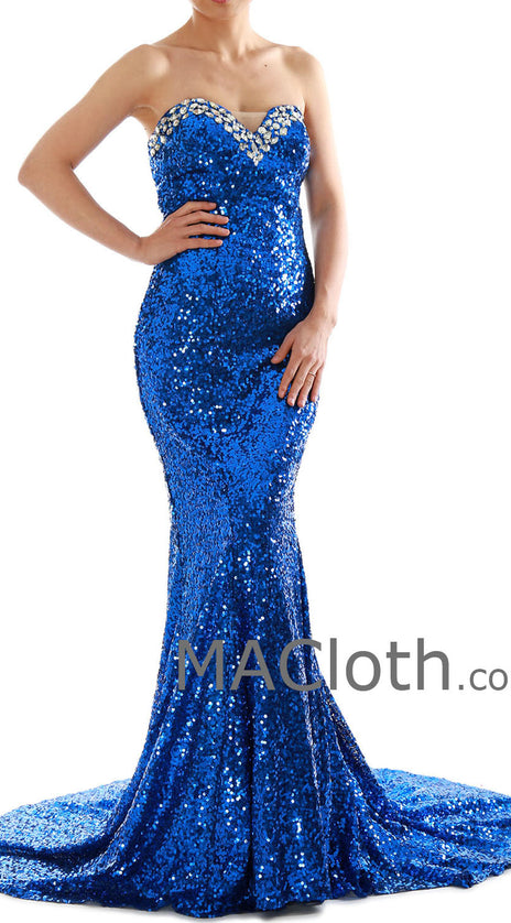 Mermaid Strapless Sweetheart Sequin Royal Blue Prom /Evening Gown 160181